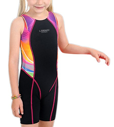 Perfashion Children Girl's Competive Legsuit Muscleback Swimsuit Red 8-9 Years