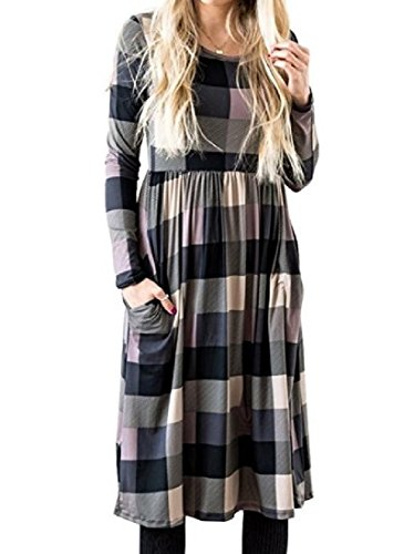 Coolred Pocket Plaid Tunic Print Women Dress or Long Sleeve Winter Fall As2 an0axgBr