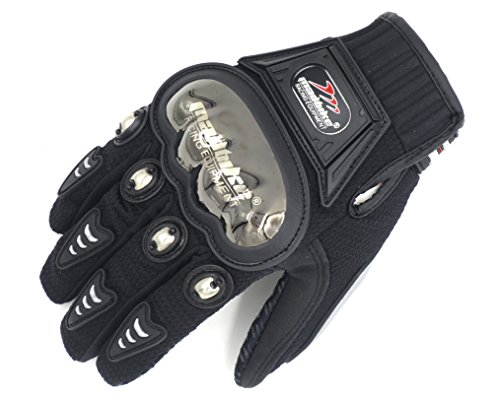 Alloy Steel Knuckle Armour Motorcycle Motorbike Motocross Powersports Racing Gloves Black Touchscreen (XL, Black)