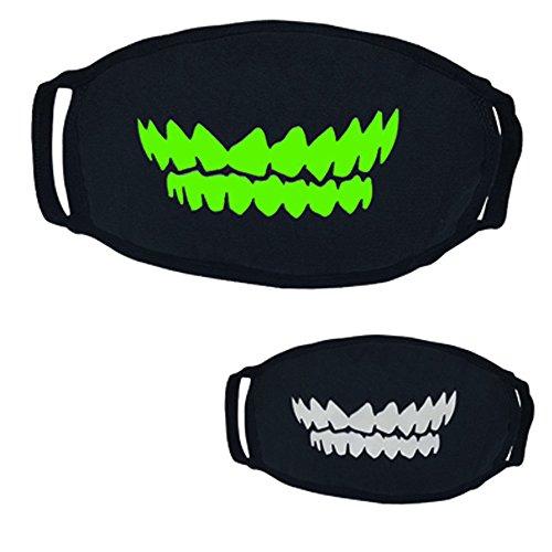 UOKNICE Halloween 26 Styles Black Party Luminous Ghost Skull Half Face Scary Horror Mask ()