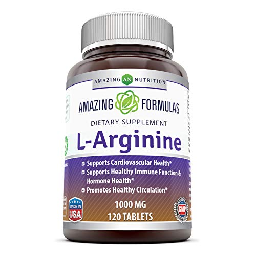 Amazing Nutrition L-Arginine 1000mg Supplement - Best Amino Acid Arginine HCL Supplements for Women & Man - Promotes Circulation and Supports Cardiovascular Health - 120 Tablets (Non-GMO,Gluten Free)