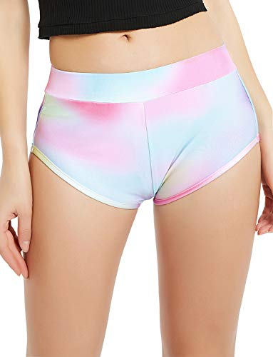 Women's Summer Hot Shorts Rainbow Spandex Booty High Waist Dance Outfits ()