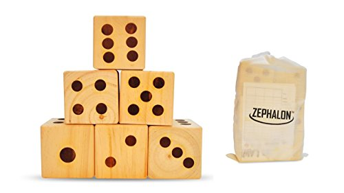 (Giant Dice - Wooden Set for Yard & Lawn Games - Play Big Jumbo Yardzee & Yardkle at The Beach, Park, or Family Event)