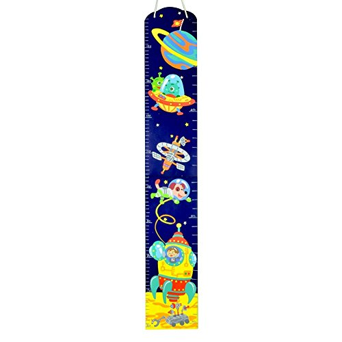 MD Group Growth Chart Hand Painted Wooden Kids' Fantasy Fields Outer Space Heigth (Hand Painted Wooden Growth Charts)