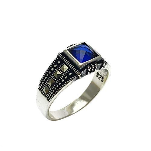 argunjewellery Turkish Jewelry Square Blue Zircon Marcasite Cool 925K Sterling Silver Mens ()