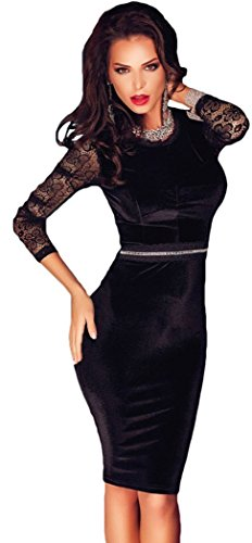christmas-peggynco-womens-black-lace-sleeves-bodycon-velvet-midi-dress-size-l
