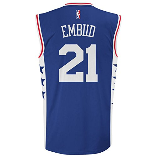 76ers Youth Jersey (NBA Philadelphia 76ers Embiid J # 21 Boys 8-20 Replica Road Jersey, Medium (10/12), Team Color)