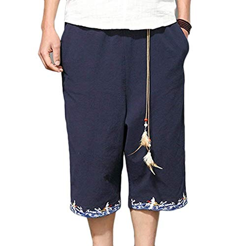 ADELINA Pantalones De Lino De Hombre Pantalones De Pierna Ancha De Ropa  Pantalones Harén Sueltos Pantalones De Ocio Holgados 3 4 Pantalones De Playa  Capris  ... c3ff737b50e