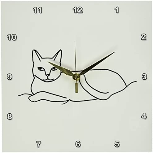 3dRose LLC Cat Laying Outline Art Drawing 10 by 10-Inch Wall Clock