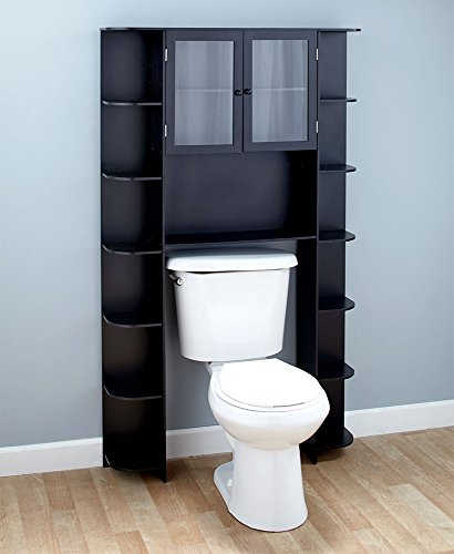 Deluxe Over-the-Toilet Space Saver Black Cabinet by Generic