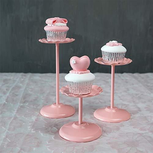 Edify Ltd ケーキスタンド カバー付き ウェディングデザートプラットフォーム ピンクカラー ケーキ ケーキ 展示用ショートパンツ   B07N1S2M9X