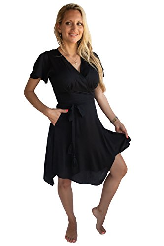 PIYOGA Women's Travel Midi Dress - Flowy Bohemian Short Sleeve High-Low Wrap (Black is The New Black) -