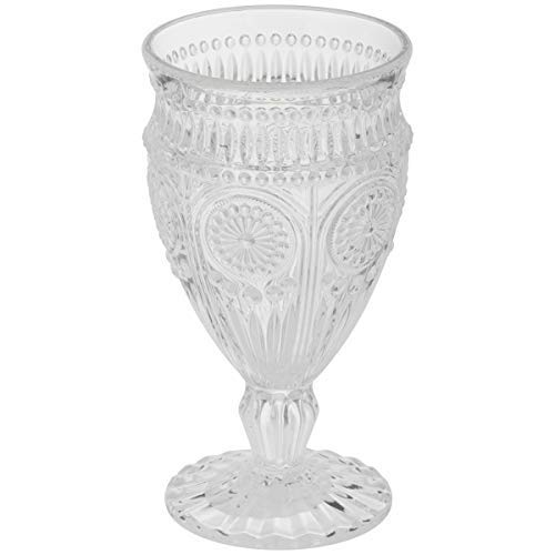 The Pioneer Woman Adeline Embossed 12-Ounce Footed Glass Goblets, Set of 4 (Clear) ()