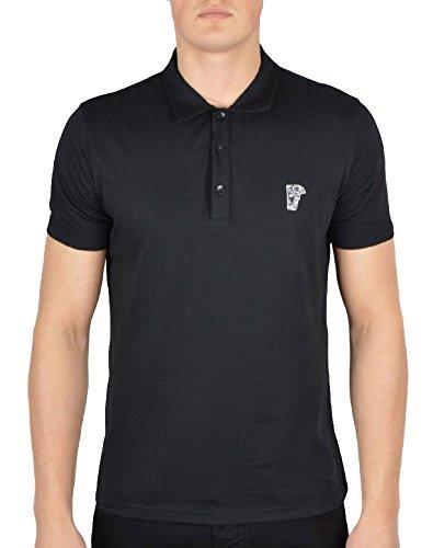 Versace Collection Men's Black Cotton Medusa Polo Golf T-shirt (M)