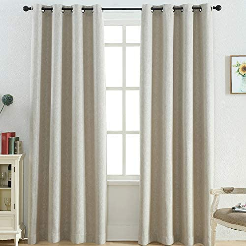 Faux Linen Window Curtains 95 Inch Long – Thermal Insulated Room Darkening Natural Color Linen Look Curtains for Living Room Grommet Top Drapes, Natural, 52 x 95 Inch, 2 Panels, by FINECITY