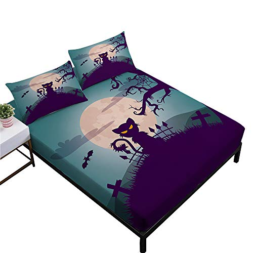 Rhap Sheets Twin Size, Cartoon Halloween Printed Twin Size Bed Sheets Set of 3 Pieces, Black Cat Halloween Decor Twin Size Fitted Sheet Set ()