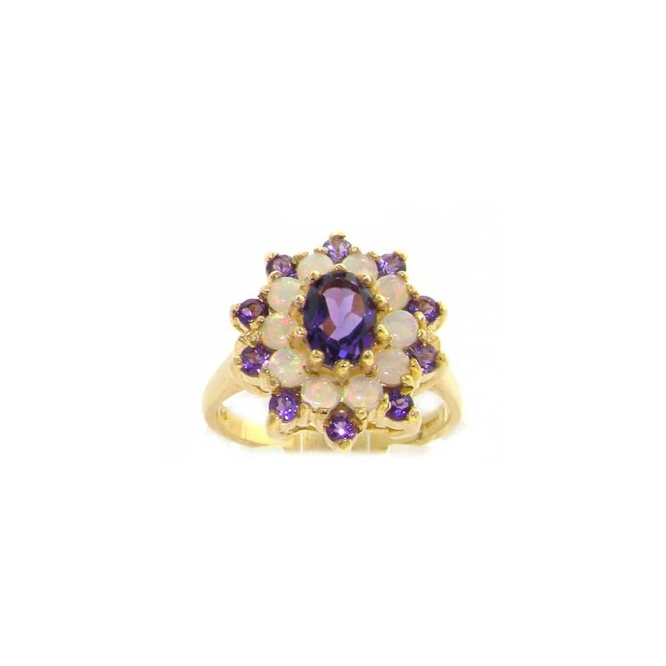 14k Yellow Gold Natural Amethyst and Opal Womens Cluster Ring   Sizes 4 to 12 Available