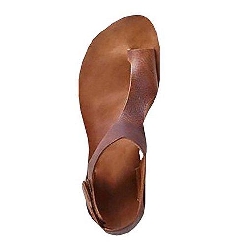 ❤️ Sunbona Women Flat Sandals Ladies Summer Casual Ankle Strap Roman Flat Clip Toe Shoes Wedge Sandal Party Dress Sandal (US:8.5, Brown)