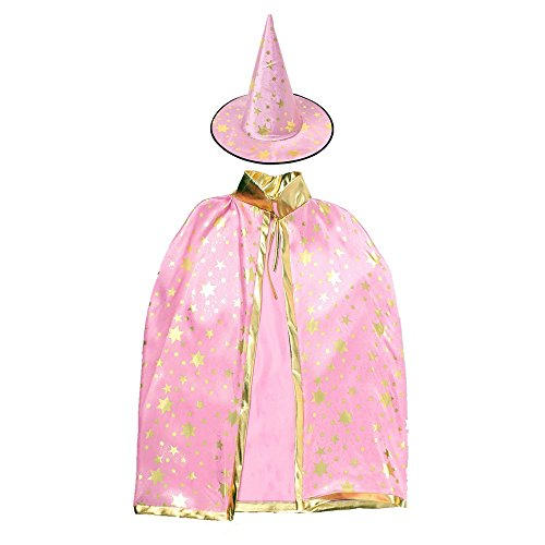Halloween Costumes Witch Wizard Cloak with Hat for Kids Boys Girls (Pink Suit With (Best Middle School Halloween Costumes)