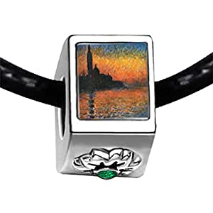 Chicforest Silver Plated Monet's San Giorgio Maggiore Photo Emerald Green Crystal May Birthstone Flower Charm Beads Fits Pandora Charms