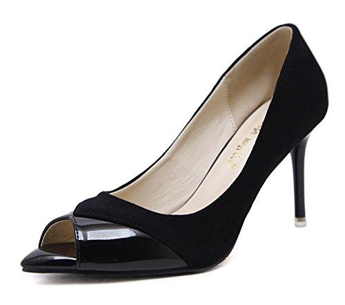Vestido De Tacón Alto De Estilete De Corte Bajo Elegante De Las Mujeres De Aisun Slip On Peep Toe Pumps Zapatos Black