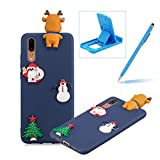 TPU Case for Huawei P20,Soft Rubber Cover for Huawei P20,Herzzer Ultra Slim Stylish 3D Christmas Santa Claus Deer Series Design Scratch Resistant Shock Absorbing Flexible Silicone Back Case - Dark Blue