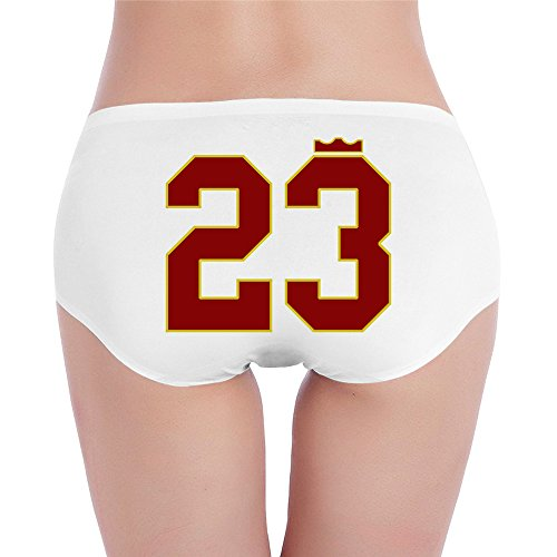 Custom Women's Funny Low-Waist Comfy Cleveland City Basketball Player LeBron 23# James Hipsters White XL