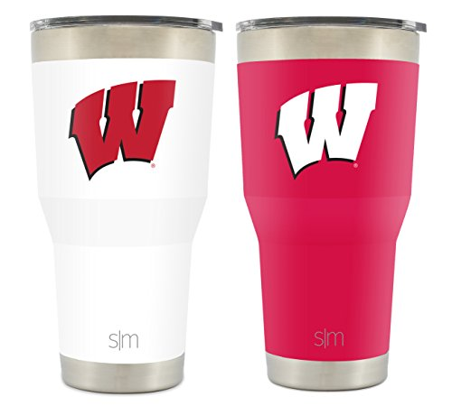 (Simple Modern University of Wisconsin 30oz Cruiser Tumbler 2-Pack - Vacuum Insulated Stainless Steel Travel Mug - Badgers Tailgating Cup College Flask)