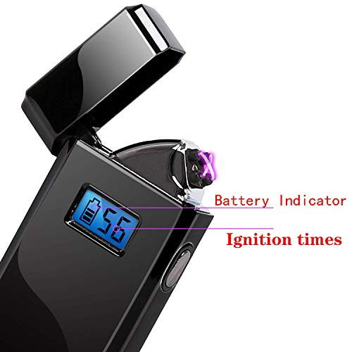 Starry Sky Dual Arc Plasma Lighter USB Rechargeable LED Screen Battery Indicator Windproof Electric Lighter (Black)