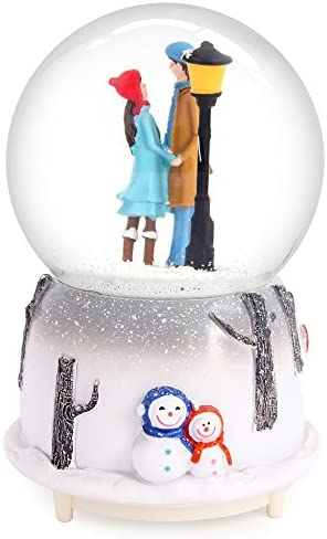 QTKJ Musical Snow Globes 100mm, Romantic Lover Hand in Hand with Color Changing LED Lights, Perfect Home Decor Valentine s Birthday Gift