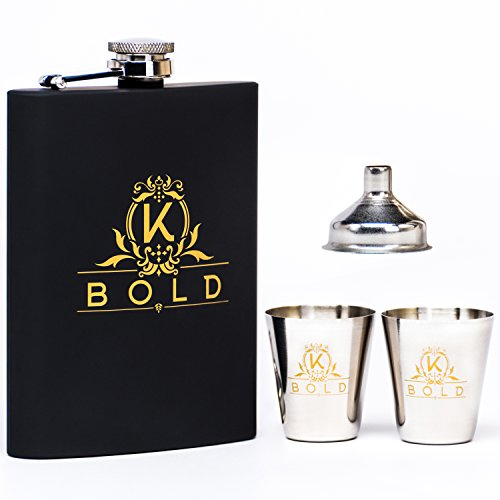 KBOLD Premium Hip Flask Gift Set in Black Elegant Box 8 oz Stainless Steel Flask with Funnel and (2) Shot Glasses, wrapped in rubber of the finest quality (Bottle Flacon)