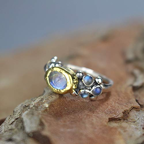 - Handcrafted Rainbow Moonstone Labradorite Engagement Ring Solid Gold Sterling Silver, Vintage Style Wedding Ring