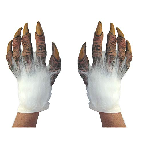 White Werewolf Yeti Abominable Beast Hands Scary Adult Halloween Costume Gloves ()