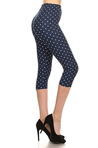 Dot Print Legging - R987-CA-3X5X Retro Polka Dots Capri Print Leggings