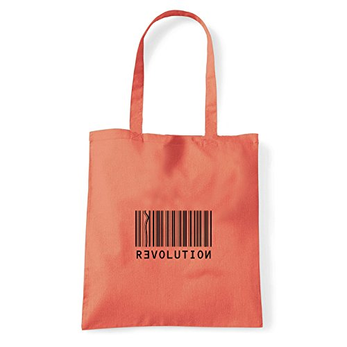 Art T-shirt revolution-bag - Bolso al hombro de Algodón para mujer Coral