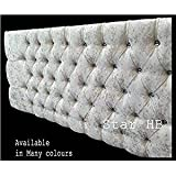 New Stylish Crush Velvet Bedworth Diamonte Headboard - ALL Sizes & Colours in Stock (Silver, 4FT6 Double)