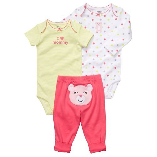 Carters Super Comfy 3 Piece (Carters Girls Newborn-9 Months Pink/Lime Bear 3 Piece Bodysuit Set (9 Months, Pink/Lime))
