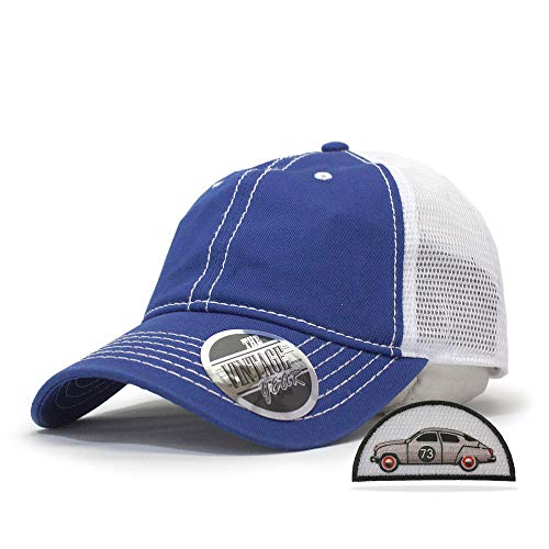 Vintage Year Washed Cotton Low Profile Mesh Adjustable Trucker Baseball Cap (Royal/Royal/White)