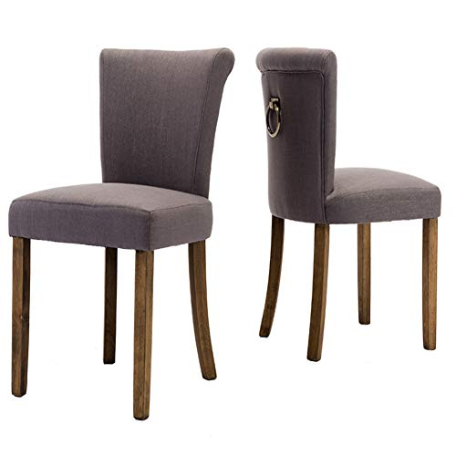 Fabric Dining Room Upholstered Chairs, Set of 2, Armless with Curved Wood Legs and Ring Pull, Gray