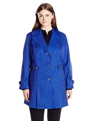 Via Spiga Women's Plus-Size Single Breasted Pleated Trench Coat, Positano Blue, 2X (Coat Womens Via)