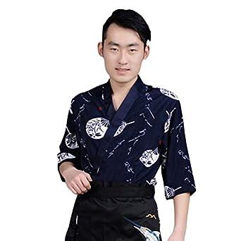 Xianheng Uniforme de Cocinero Kimono Camarero Chaqueta de Trabajo de Estilo Japónes Coreano Azul Oscuro S