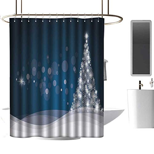 Hinxinv Christmas,Shower Curtains Black with red,Fantasy Backdrop Abstract Xmas Tree Dreamlike Snowflakes Dots Wintertime,Shower Curtain for Bathroom,W48 x L84,Dark Blue White