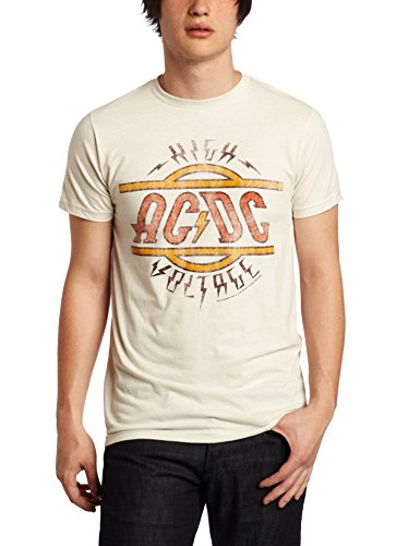 T-shirt Vintage Shirt (Impact Men's AC DC High Voltage T-Shirt, Vintage White, Large)