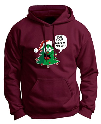 510 Families Christmas Trees - Christmas Dating Gifts for Christmas Dance Put Your Balls on Me Funny Christmas Tree Ornaments Premium Hoodie Sweatshirt Small Mroon
