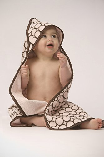 - SwaddleDesigns Cotton Terry Velour Baby Hooded Towel, Brown Mod Circles on Pastel Pink