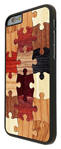 557 - Cool Funky Wooden puzzle Print Look Design Design iphone 6 6S 4.7'' Coque Fashion Trend Case Coque Protection Cover plastique et métal - Noir