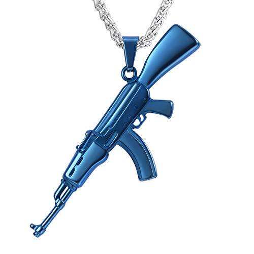 Blue AK47 Rifle Shape Pendant with Stainless Steel Chain Necklace Rock Army Style Cool Men Jewelry