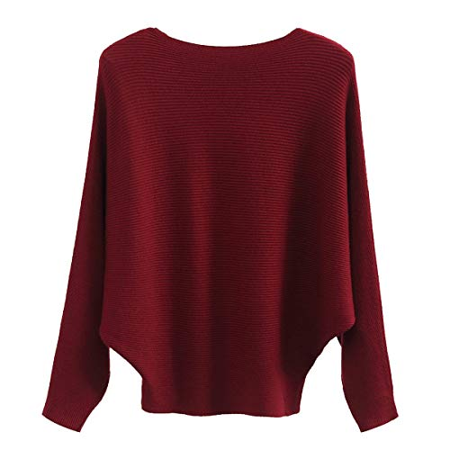 GABERLY Boat Neck Batwing Sleeves Dolman Knitted Sweaters and Pullovers Tops for Women (Burgundy, One Size) -