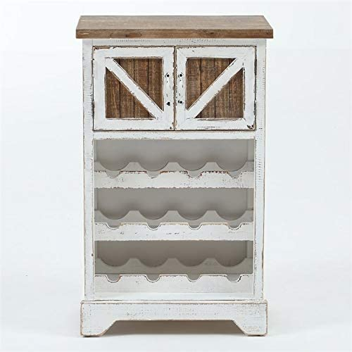 Pemberly Row White and Natural Wood Wine Cabinet