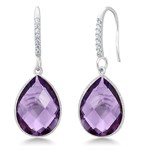 Amethyst Dangle Earrings Jewelry - 925 Sterling Silver 13.00 Ct Faceted Amethyst Pear Shape Dangle Earrings